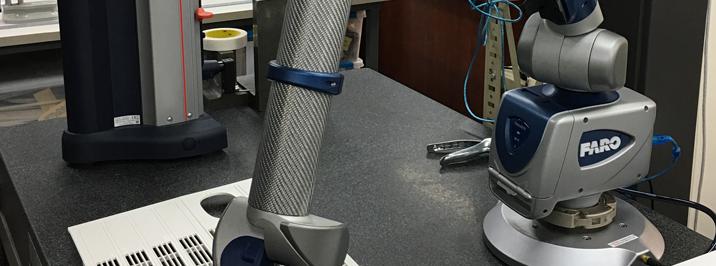 Non-contact CMM measurement FARO Edge ScanArm HR for aerospace part manufacturing